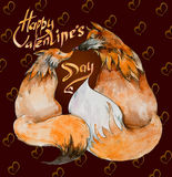 Couple of foxes in love on brown background with hearts and the sign `Happy Valentine`s day`. Stock Images