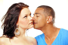 Couple fragrant kiss Stock Images