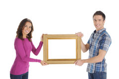 Couple with frame. Royalty Free Stock Photography