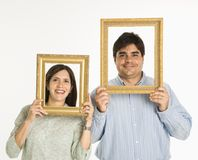 Couple in frames. Stock Images