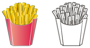 Couple of french fries. Colored french fries with coloring french fries royalty free illustration