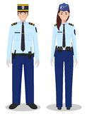 Couple of french policeman and policewoman in traditional uniforms standing together on white background in flat style Royalty Free Stock Photo