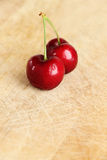 A couple of fresh cherries Royalty Free Stock Photography