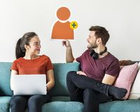 Couple with friend request avatar icon Royalty Free Stock Image