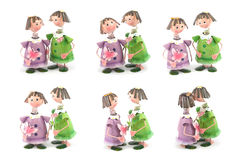 Couple with friend Zinc fairy dolls Stock Photography