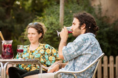 Couple of friends drinking sangria outdoors Royalty Free Stock Photo