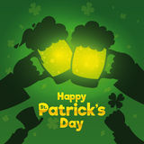 Couple of Friends Gathering in the Bar and Celebrating St. Patrick's Day, Vector Illustration Royalty Free Stock Image