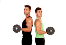 Couple of friends lifting weights Royalty Free Stock Image
