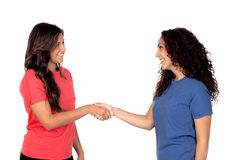 Couple of friends shaking hands Royalty Free Stock Images