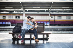 Couple Friendship Hangout Traveling Map Concept Stock Photography