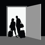 Couple front the door vector Stock Photos