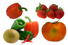 Couple fruit. Strawberrie, Tomato, Pepper fruit picture isolated with white Stock Image