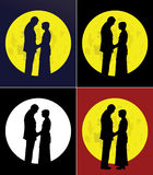 Couple and full moon Royalty Free Stock Photo