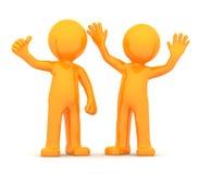 Couple of fun happy orange 3D persons Stock Photos