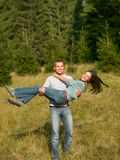 Couple fun in nature Royalty Free Stock Image