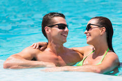Couple fun pool Royalty Free Stock Images
