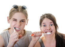 Couple Funny Brushing Teeth. Young Couple Grimacing while Brushing their Teeth in front of camera, Horizontal Shot over White Royalty Free Stock Photos