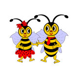 A couple of funny cartoon bees Stock Image
