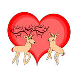 A couple of funny cartoon deer with a red heart Stock Photos