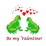 A couple of funny cartoon frogs with hearts. Valen Royalty Free Stock Images