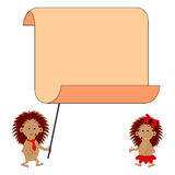 A couple of funny cartoon hedgehogs. With a big blank paper. Vector-art illustration on a white background Stock Photo