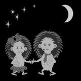 A couple of funny cartoon hedgehogs dating in the night Royalty Free Stock Image