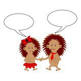 A couple of funny cartoon hedgehogs with dialog bubbles Royalty Free Stock Photography