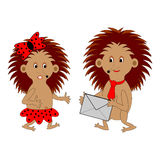 A couple of funny cartoon hedgehogs with a letter. Vector-art illustration on a white background Stock Photography
