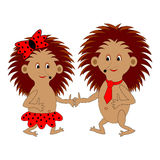 A couple of funny cartoon hedgehogs Royalty Free Stock Photo