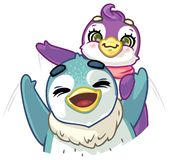Couple of funny cartoon penguins waving their hands. Couple of funny colored cartoon penguins waving their hands, girl and boy royalty free illustration