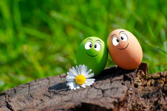 A couple of funny eggs for Happy Easter Stock Photography