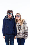 Couple in funny glasses Stock Photo