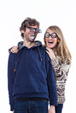 Couple in funny glasses Royalty Free Stock Photography