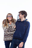 Couple in funny glasses Royalty Free Stock Images