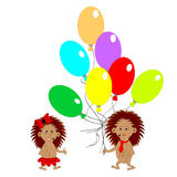 A couple of funny hedgehogs with many colorful balloon. A couple of funny hedgehogs with many colorful balloons. Vector-art illustration Stock Photo