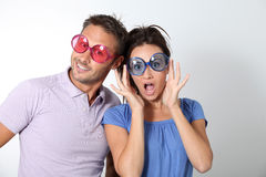 Couple with funny look Royalty Free Stock Image