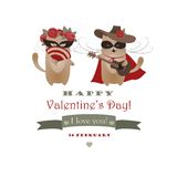 Couple of funny valentine cats, Zorro cat and his Royalty Free Stock Photos