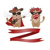 Couple of funny valentine cats, Zorro cat and his Stock Photo