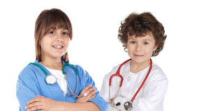 Couple of future doctors. A over white background Stock Photo