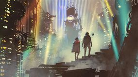 Couple in the futuristic world. Couple in the futuristic city at night with buildings and light beams, digital art style, illustration painting royalty free illustration