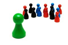 Couple game figures different opinion royalty free stock photography