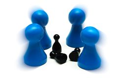 Couple game figures different opinion. A Couple game figures different opinion Royalty Free Stock Image