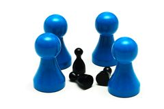 Couple game figures different opinion. A Couple game figures different opinion Stock Photo