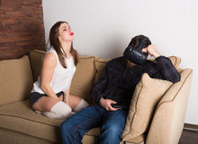 Couple of gamers at home. With VR headset Royalty Free Stock Images