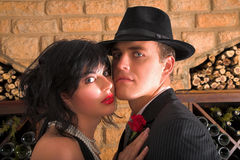 Couple in gangster costumes Royalty Free Stock Photo