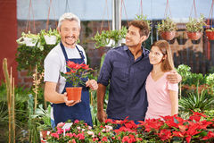 Couple and gardener in nursery shop. Smiling couple and a gardener in a nursery shop between plants and flowers royalty free stock images