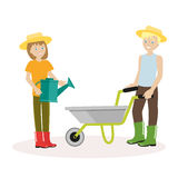 Couple of gardeners. Man with wheelbarrow, a woman holding watering can. Flat character isolated on white background Royalty Free Stock Image