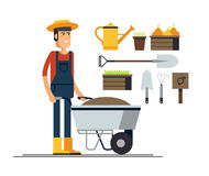Couple of gardeners. Vector flat illustration of gardener character. Young man holding wheelbarrow of earth. Hobby of the elderly people Royalty Free Stock Photography