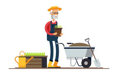 Couple of gardeners. Vector flat illustration of gardener characters. Elderly man holding flower pot and wheelbarrow of earth. Hobby of the elderly people Stock Photos