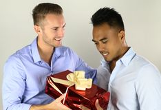 Couple gay giving a present royalty free stock photo